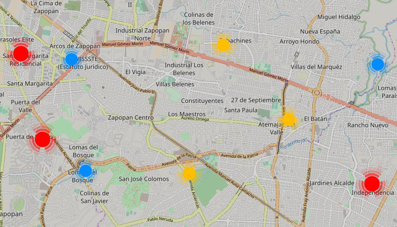 Map of San Juan de Sabinas shopping centers, malls